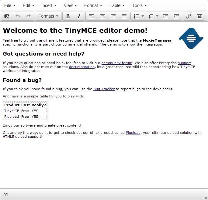 TinyMCE metin editöründen bir görüntü