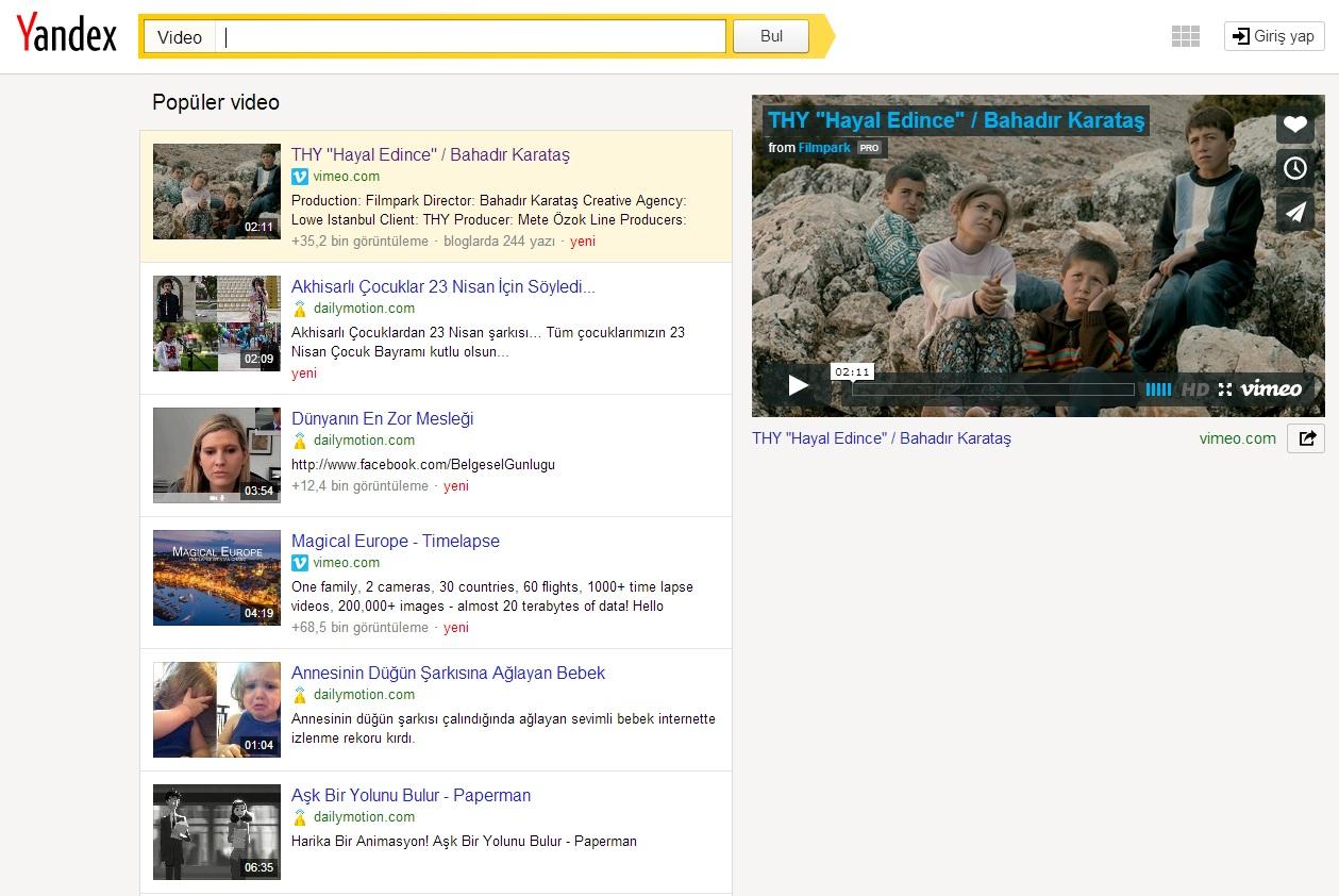Yandex Video Arama Özelliği