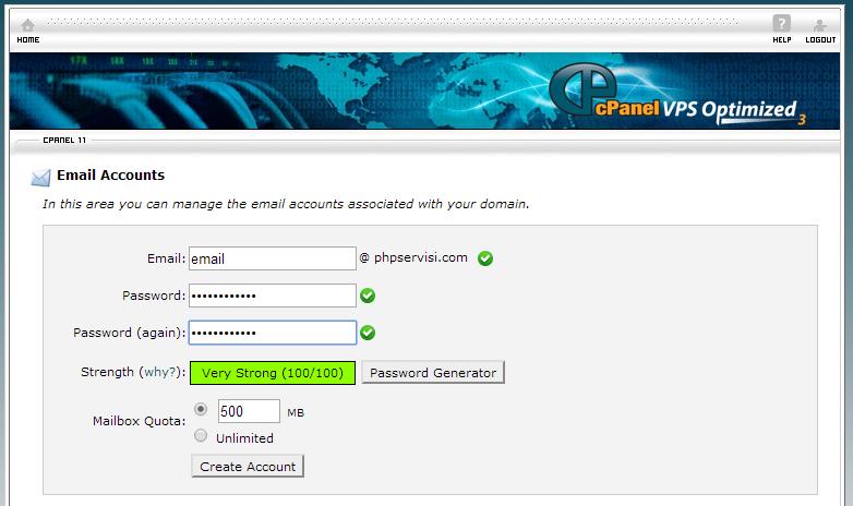 CPanel e-mail ekleme alanı
