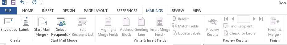 Mailings Sekmesi Temsili Ekran Görüntüsü