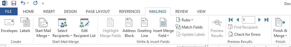 Mailings Sekmesinde Aktif Olan Fonksiyonların Görüntüsü