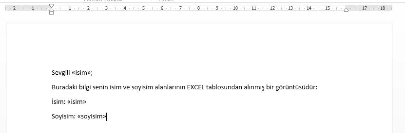 Word Şablonu ve Excel Sütun Adları