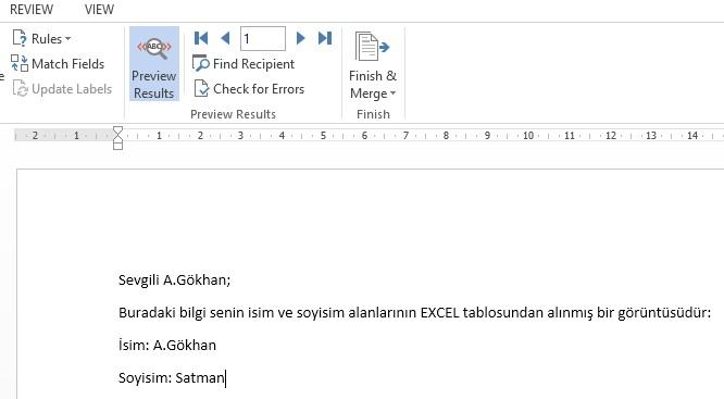 Word Üzerinde Excel Verilerini Gösterme