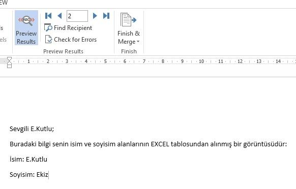 Excel Verilerini Word Üzerinde Göster