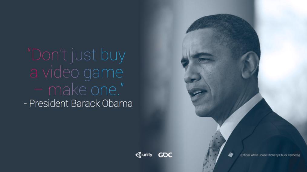 """Obama: """"sadece oyun satın almayın, bir tane de siz yapın"""""""