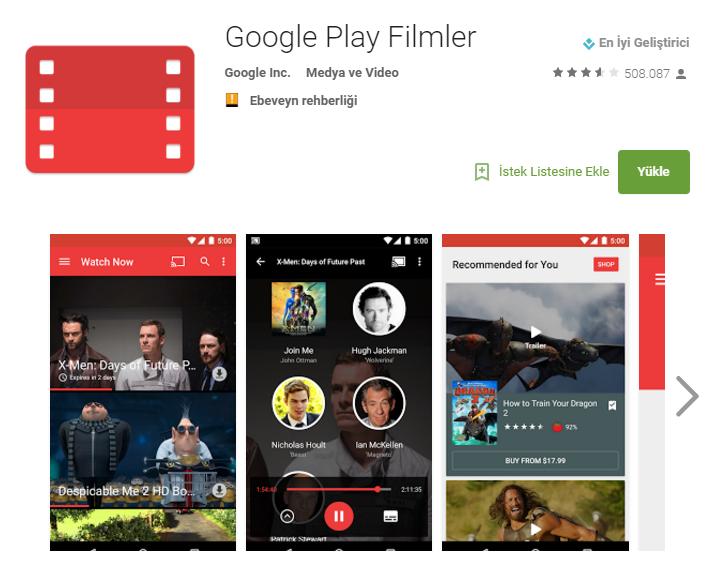 Google Play Store Filmler Uygulaması Ekran Görüntüsü
