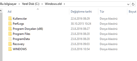 Windows.old Klasörü ve İçeriği
